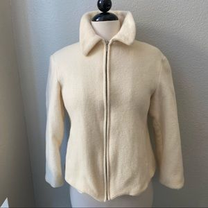 united colors of BENETTON wool white zip jacket S